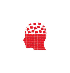 head puzzle in brain for logo design on white vector image