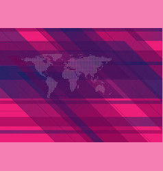 hi-tech geometric background with world map vector image