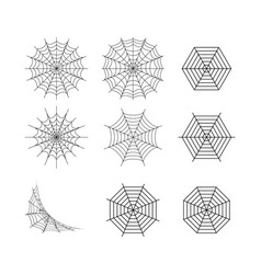 Isolated set spider web on white art vector