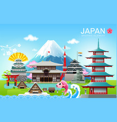 japan landmark travel object vector image
