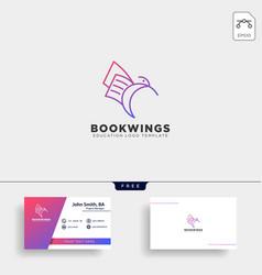 Line paper or book bird logo template vector