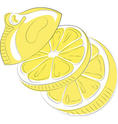 logo of lemon in the form of heart stylized slice vector image