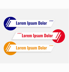 Lower third banners set in three colors vector
