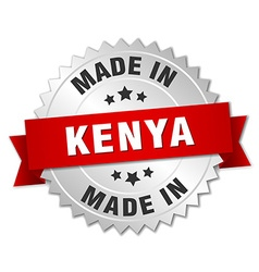 Made in Kenya silver badge with red ribbon vector