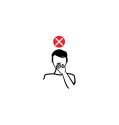Man cough in hand concept character design vector