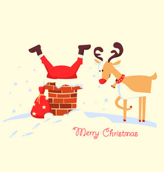 merry christmas card with santa claus stuck in vector image