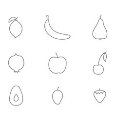 monochrome set with fruits line icons vector image