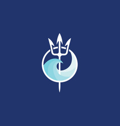 Neptune trident logo and sea wave vector