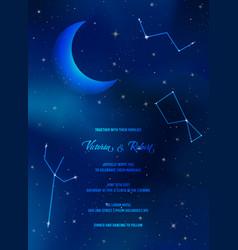 night sky trendy wedding invitation card vector image