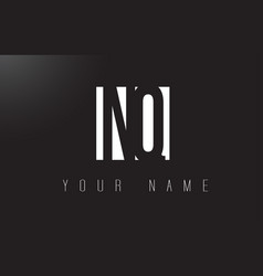 nq letter logo with black and white negative vector image
