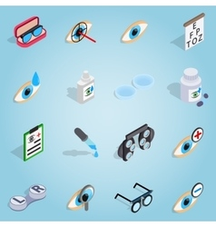Optometry set icons isometric 3d style vector image