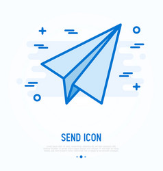 Paper plane send thin line icon vector