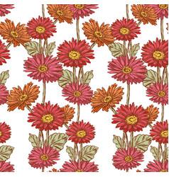 Pattern of the garden gerberas vector