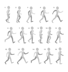 Phases step movements man in walking sequence vector