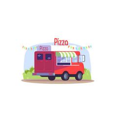 pizza truck semi flat vector image
