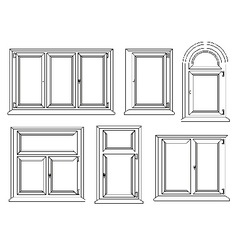 Plastic windows icons set vector