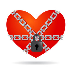 Red heart symbol chained and locked vector