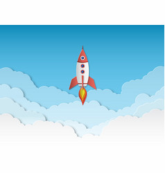 rocket paper cut rockets launch with clouds vector image