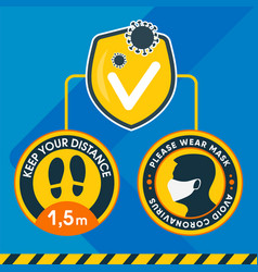 round sticker keep your distance 15 meters vector image