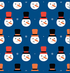 Seamless pattern background with snowmen in hats vector