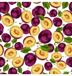 Seamless plum fruit sliced pattern vector image