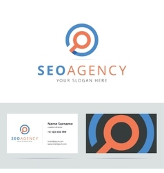 SEO agency logo and business card template vector