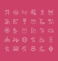 set line icons sport athletics vector image