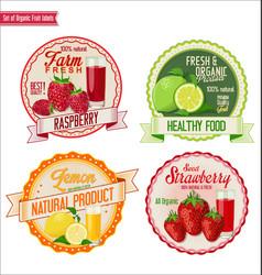set of organic fruit labels 5 vector image