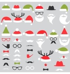 Set of Santa hats mustache and beards vector image