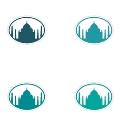Set of stickers Indian Taj Mahal on white vector