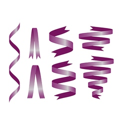 Shiny purple ribbon on white background vector image