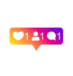 social media instagram modern like 1 follower 1 vector image
