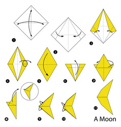Step instructions how to make origami a moon vector