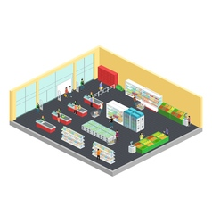Supermarket Isometric Composition vector