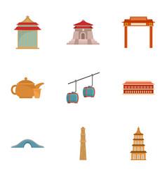 Taiwan icon set flat style vector
