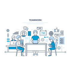 teamwork communication workflow space vector image