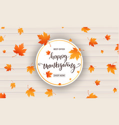 thanksgiving card happy thanksgiving calligraphy vector image