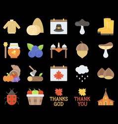 Thanksgiving related flat icon set 3 vector