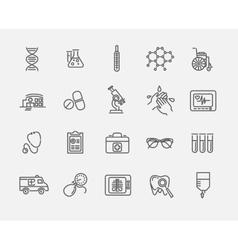 Thin lines web icon set - Medicine and Health vector
