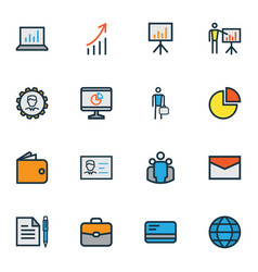 trade icons colored line set with identification vector image