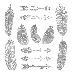 Tribal feathers and arrows aztec indian fashion vector