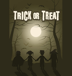 trick or treat group children in forest on vector image