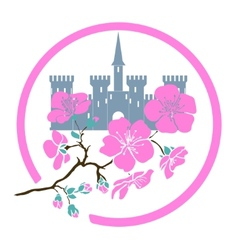 Twig sakura blossoms and castle Logo vector