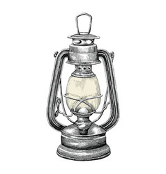 vintage lantern hand drawing engraving style vector image