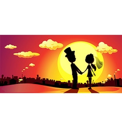 wedding silhouette in sunset - horizontal vector image