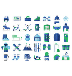 winter sports and activity icons vector image