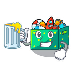 With juice kids toys in the cartoon box vector