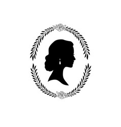 Woman face silhouette in oval floral frame lady vector