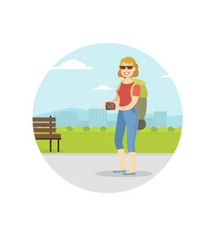 woman travelling with backpack on summer vacation vector image