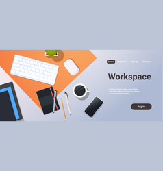 Workplace desk top angle view keyboard mouse vector